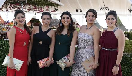 Marcela Villarreal, Sofía Faz, Pily Villanueva, Regina Martínez y Katy Díaz de León.