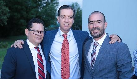 Compadres Checo Quibrera, Marcelo Galán y Manuel González.