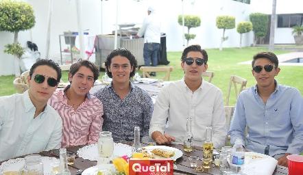 Salomón Dip, Raúl Suárez, José López, Daniel Villarreal y Polo Conde.