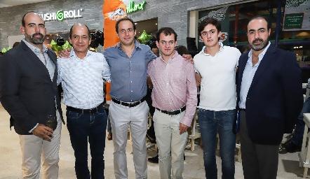 Félix Feres, Elías Abud, Manolo Abad, Elías Abud, Rodrigo Abud y Gustavo Puente.