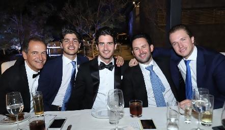 Ricardo, Santiago y Chema Gómez, Alberto Rangel y Chema Herrera.