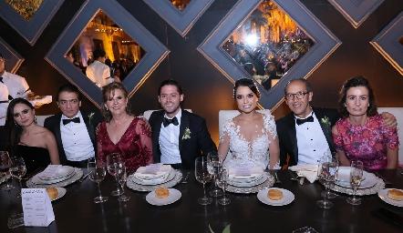 Marijó y Abraham Salgado, Rosy Somohano, Abraham Salgado, Gaby Díaz Infante, Enrique Díaz Infante y Gabriela Andrés.