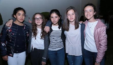 Sofía Espinoza, Bárbara Lafuente, Connie Hermosillo, Mariana Mendizábal y Montse Estrada.