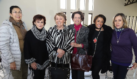 Lucy Compean, Alicia Villalba, Marilú de Lira, Martha Abaroa, Marilú Lira y Rocío de Sigona.