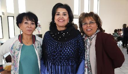 Aida Martínez, Diana Reyes y Carmelita Vázquez.