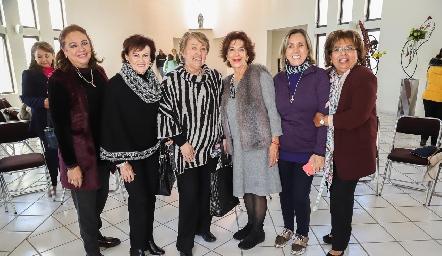 Silvia de Garza, Alicia Villalba, Marilú de Lira, Lucero de Lobo, Rocío de Sigona y Carmelita Vázquez.
