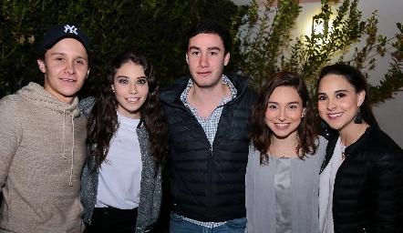 Franco Safont, Lucía Hernández, Sebastián Rodríguez, Dani y Bárbara González.