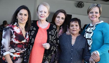 Lupita Quibrera, Luz Estela de Gómez, María José Abaroa, Juanita de Quibrera y Luz Estela Gómez.