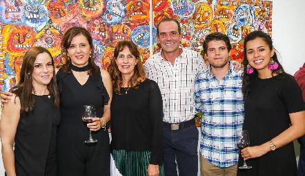 Diana Guel, Marcela Milán, Mónica de la Rosa, Juan Cuétara, Ricardo de la Torre y Sofía Milán.