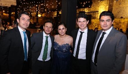 Alejandro Díaz de León, Mauricio Ramírez, Gaby Franco, Víctor Paulin y Alberto Díaz de León.