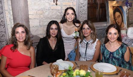 Lourdes Velázquez, Maribel Lozano, Sofía Álvarez, Rosy Rodríguez y Carla Torres.