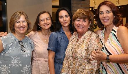 Marlú Mendizábal, Pina Sánchez, Sandra Correa, Malusa Alcocer y Lourdes Alcalde.