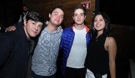 Daniel Goldaracena, Pato Borjas, Alejandro Torres y María José López.