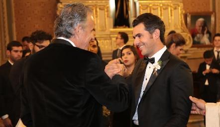 Francisco de la Rosa con su yerno Daniel Dauajare.
