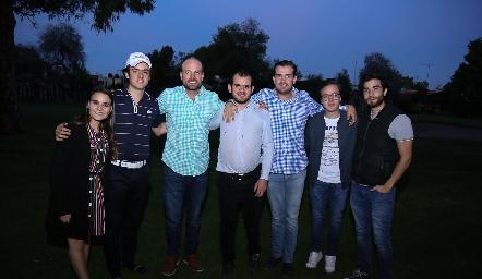 Sofía Torre, Rodrigo Abud, José Eduardo Gómez, Elías Abud, Miguel Gómez, Quique Garza y Daniel Delgado.