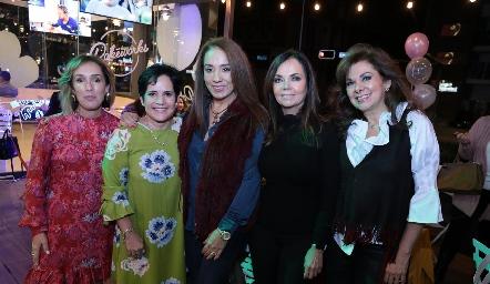María Elena Ávila, Tita García, Lorena Herrera, Elsa Tamez y Elia de Padilla.