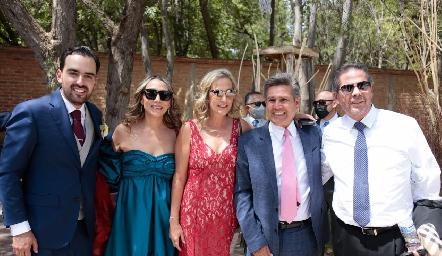 Rafa Olmos, Roxana Serna, Claudia Quiroz, Galo Galván y Alejandro Santibáñez