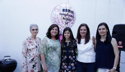 María de Lourdes Gómez, Alejandra Saiz, María Villasuso, Verónica Saiz y Verónica Cruz.