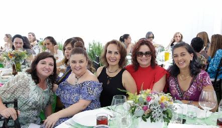 Alejandra Saiz, Margaret Lozano, Yogus Gómez, Marcela Chavarría y Laura García.