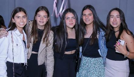 Nuria Torres, Sofía de la Fuente, Dani, Daniela Galán y Majo Quezada.