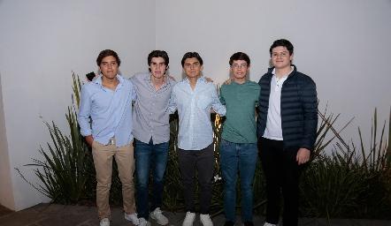 Carlos Espinosa, Arturo Casillas, Luis Fernando, Carlos Miramontes y Sebastián Cabrero.